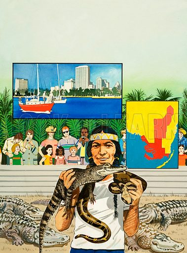 Other People's Countries: Where Summer Stays All Year. A visit to the Everglades National Park, where you can see snakes and alligators, with Fort Lauderdale inset. Original artwork from Look and Learn no. 984 (17 January 1981).