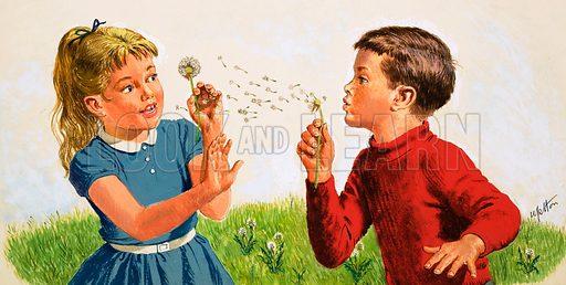 Boy blowing a dandelion clock. Original cover artwork from Treasure no. 149 (20 November 1965).