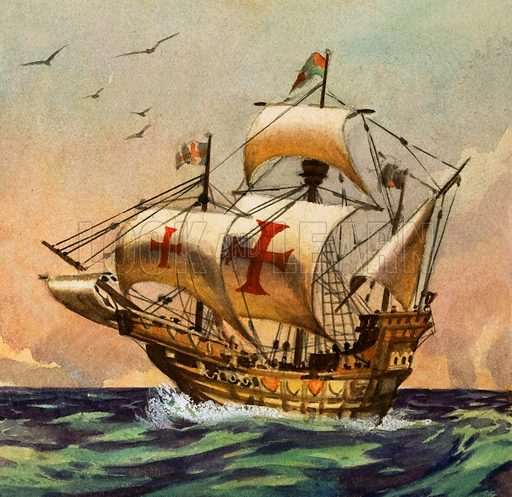 Santa Maria, ship on which Christopher Columbus sailed to the New World, 1492. Original artwork from Look and Learn no. 176 (29 May 1965).