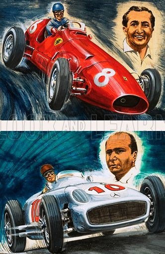 Alberto Ascari driving a Maserati (top) and Juan Manuel Fangio driving a Mercedes-Benz (below). Original artwork from Look and Learn no. 470 (16 Jan 1971).