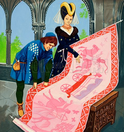 The Princess in the Tower. The Queen shows off the tapestry created by her daughter to the King of a nearby land. Original artwork from Once Upon a Time no. 43 (6 December 1969).