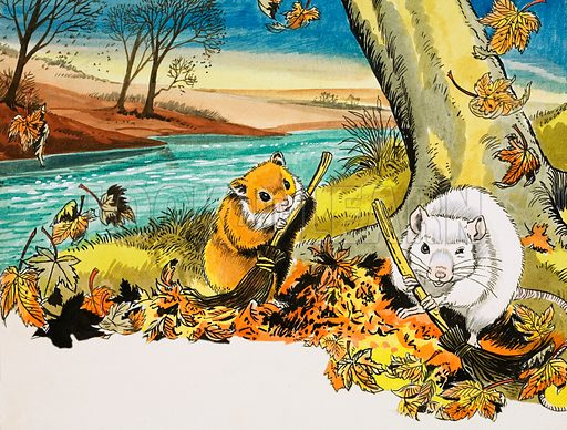 Unidentified scene of mice sweeping autumn leaves. Original artwork.