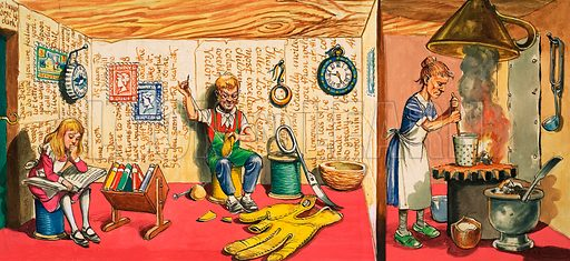 The Borrowers. Original artwork from Treasure no. 8 (9 March 1963).