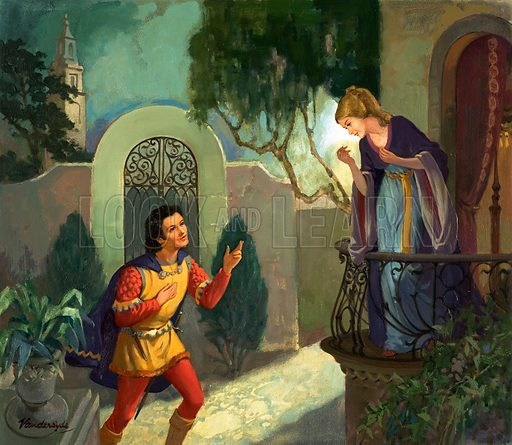 Unidentified balcony scene, possibly Romeo and Juliet. Original artwork from Once Upon a Time (?).