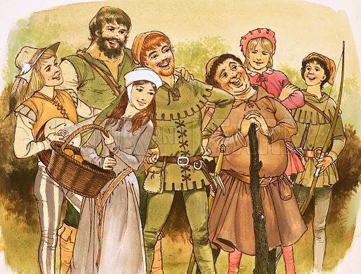 Robin Hood and His Merry Men. Original artwork.