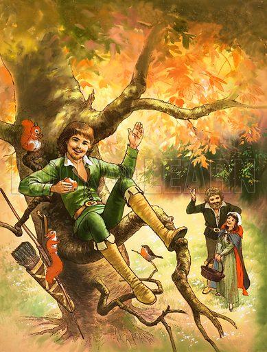 Robin Hood resting in a tree. Original artwork.
