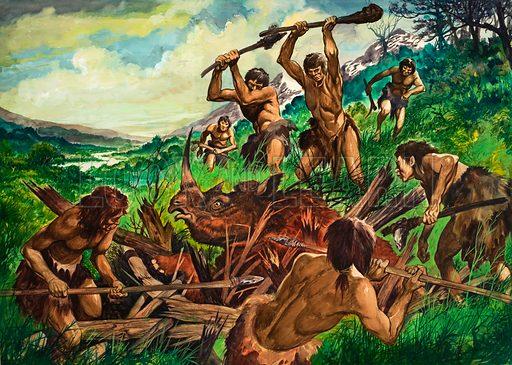 Primitive men hunting a rhinoceros. Original artwork.