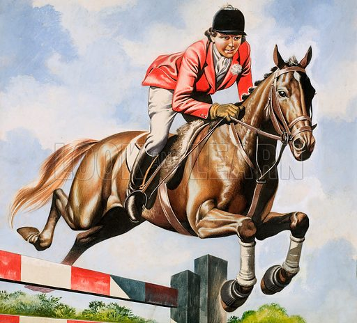 Pat Smythe, champion showjumper and her horse Prince Hal. Original artwork for cover of Look and Learn issue no 329.