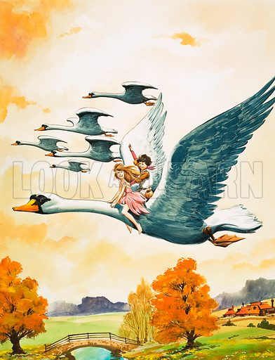 The Little Swan Maiden. Gilda and her friend the shepherd boy fly away by swan. Original cover art from Once Upon a Time 88 (17 October 1970).