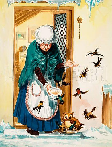Feeding the birds in winter. Original artwork.