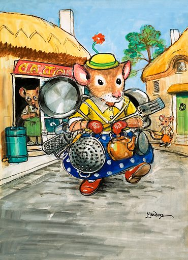Town Mouse and Country Mouse. Original artwork from Once Upon a Time no. 167.