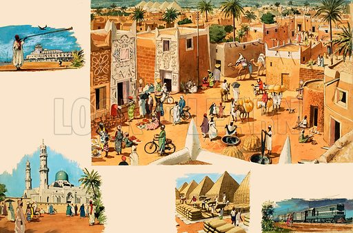 Unidentified scenes of Egypt, including Ancient Egypt and pyramids. Original artwork.