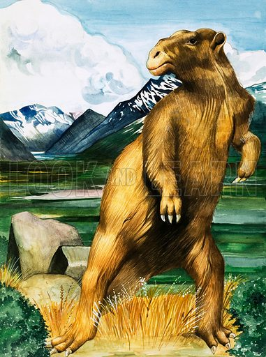 Once Upon a Time. Anything for a Quiet Life. The Megatherium, a land sloth from South and Central America during the Pleistocene Age. Original artwork from Look and Learn no. 954 (3 May 1980).