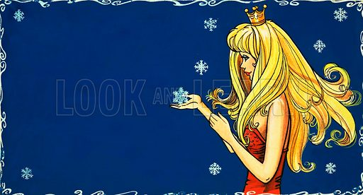 Princess catching snowflake.