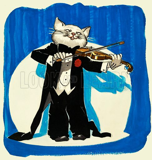 Cat in tuxedo playing a violin. Original artwork.