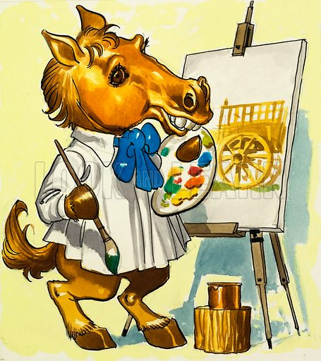 Horse artist. A horse painting a picture of a cart. Original artwork.