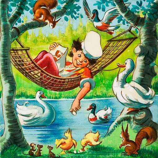 Feeding ducks from a hammock. Original artwork.