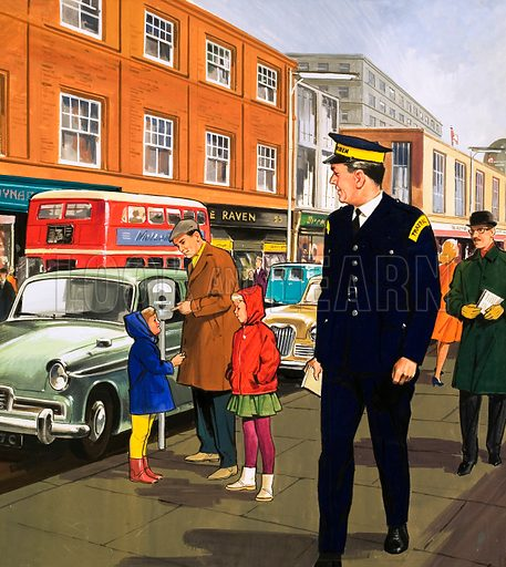 People You See. Traffic Warden. From Teddy Bear (date unknown). Original artwork loaned for scanning by the Illustration Art Gallery.