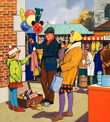 People You See. Baloon salesman. From Teddy Bear (date unknown). Original artwork loaned for scanning by the Illustration Art Gallery.