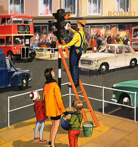 picture, traffic light, cleaner, ladder, cars, bus