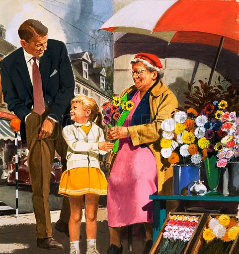 People You See. Flower seller. From Teddy Bear (5 October 1963). Original artwork loaned for scanning by the Illustration Art Gallery.