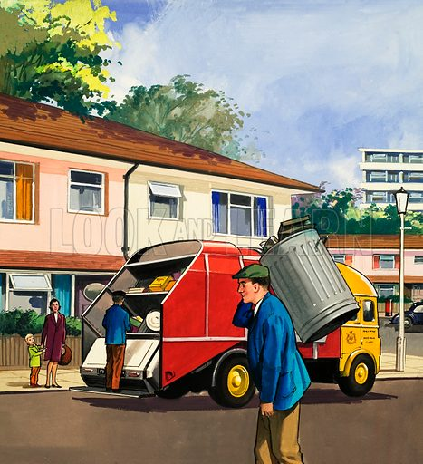 People You See. Dustmen. From Teddy Bear (4 November 1967). Original artwork loaned for scanning by the Illustration Art Gallery.