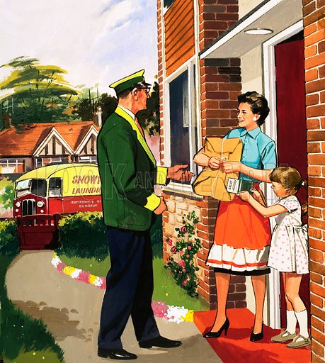 People You See. Laundry delivery service. From Teddy Bear (18 July 1964). Original artwork loaned for scanning by the Illustration Art Gallery.