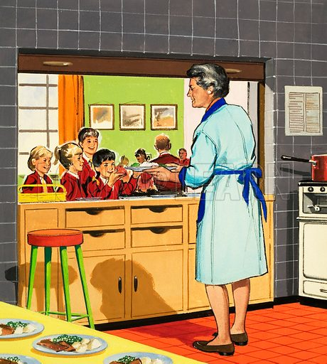 School lunch/dinner lady (illustration, picture)