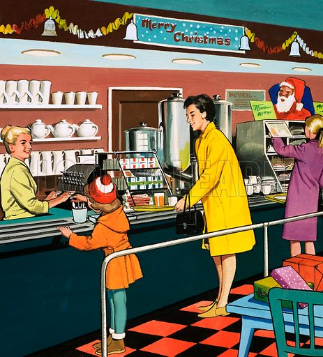 People You See. Canteen staff. From Teddy Bear (7 December (year unknown)). Original artwork loaned for scanning by the Illustration Art Gallery.