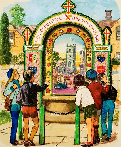 Well-dressed Wells. Tissington Well. Originally published in black & white in Look and Learn no. 603 (4 August 1973).