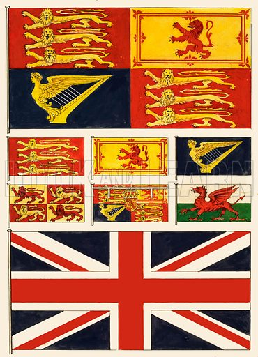 Some flags of Great Britain.
