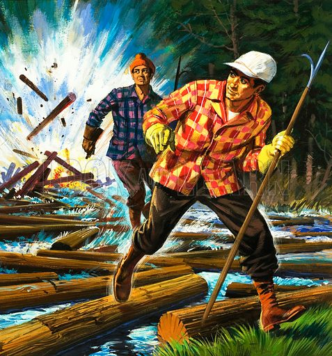 Unidentified lumberjacks escaping explosion amongst logs. Original artwork (dated 26/9/70).
