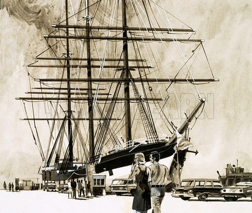 Ports of Call: The Lawless City. San Francisco was a lawless town during the gold-rush. Our picture shows one of the ships that brought the hordes to California, the Balclutha, fully restored in 1954. From Look and Learn no. 765 (11 September 1976). Original artwork loaned for scanning by the Illustration Art Gallery.