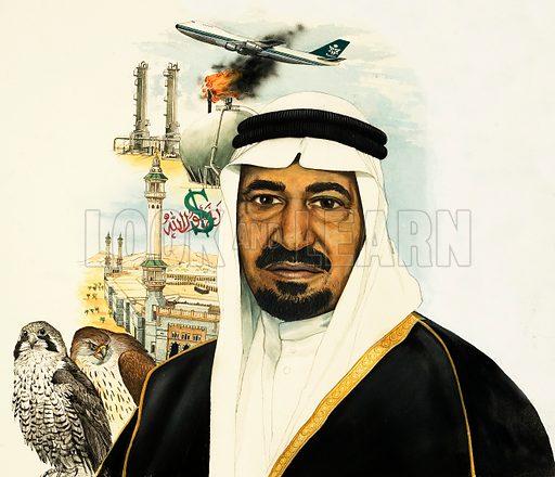 Unidentified Saudi King -- possibly King Faisal bin Abdul Aziz. Original artwork (dated 20/3/82).