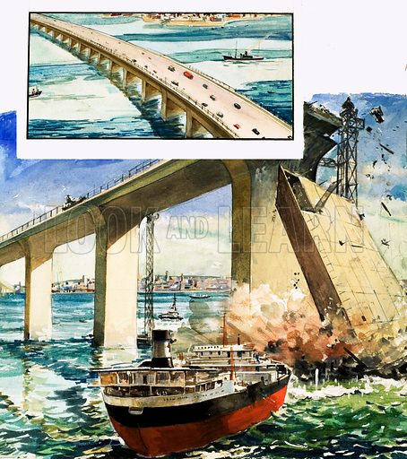 It Happened Here: The Killer Bridge. The West Gate Bridge spans the Yarra River at Melbourne, the scence of a disaster in 1970. From Look and Learn no. 957 (12 July 1980).