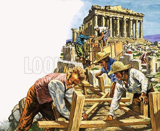 Lord Elgin at the Parthenon, picture, image, illustration