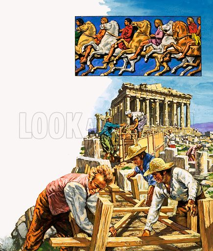 Treasures from the Past: Perfect Souvenirs. Lord Elgin exploring the ruins of the Parthenon where he discovered the Elgin Marbles (inset). From Look and Learn no. 1008 (4 July 1981).