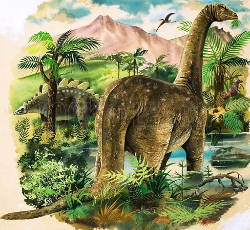 Dinosaurs. Original artwork loaned for scanning by the Illustration Art Gallery.