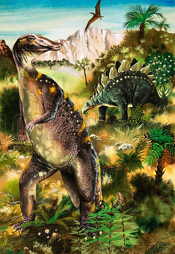 When Monsters Ruled the Earth. Dinosaurs (LtoR): Trachodon, Pterodactyl and Stegosaurus. Cover for Look and Learn no. 47.