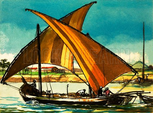 Felucca boats on the River Nile. From Look and Learn no. 456 (10 Oct 1970).