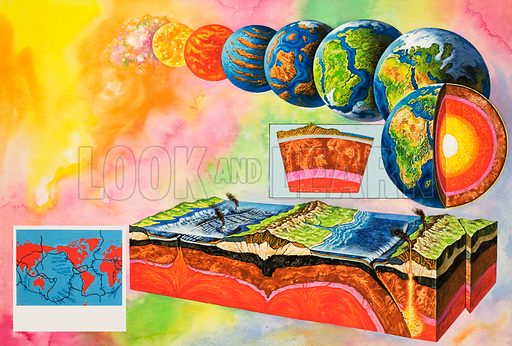 How the Earth formed out of cosmic dust and became the planet we know today. Includes a cross section of the Earth's crust and a map of continental tectonic plates. Original artwork (dated 25/3/67) loaned for scanning by the Illustration Art Gallery.