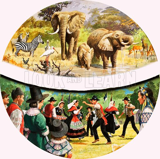 African Watering Hole and village dancing. Original artwork (annual cover?) loaned for scanning by the Illustration Art Gallery.