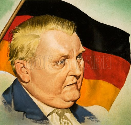 Dr Ludwig Erhard, Chancellor of West Germany. From Look and Learn no. 152 (12 December 1964).