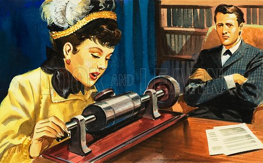 The Story of Communication: From Phonograph to Tape Recorder. A woman records her voice onto a wax cylinder. Original artwork from Look and Learn no. 196 (16 October 1965).