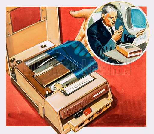 The Story of Communication: From Phonograph to Tape Recorder. A dictaphone. Original artwork from Look and Learn no. 196 (16 October 1965).