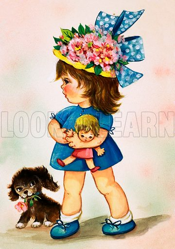 Young girl in flowery hat with doll and puppy.