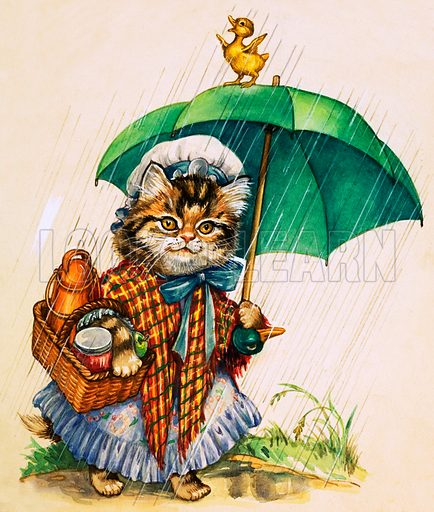 Cat with umbrella. Original artwork loaned for scanning by the Illustration Art Gallery.