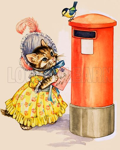 Cat in a bonnet posting a letter at a letter box.