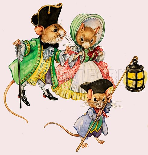 Well-dressed Victorian mice taking a stroll.