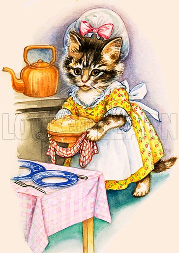 Cat cooking a pie.